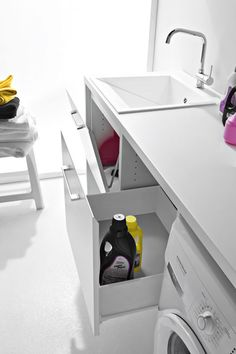 Arredamento Bagno/Lavanderia by BIREX. Washing Machine, Sweet Home, Laundry, Home Appliances, Cabinet, Bathroom, Storage, Kitchen, Furniture