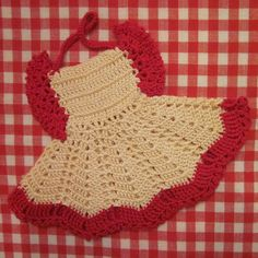 Vintage Crocheted Potholders  Two Red and Cream by SimplySuzula, $6.50