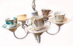 Handmade Teacup Chandelier using repurposed light by themadplanter
