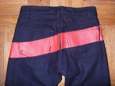 Helmut Lang painted stipe jeans