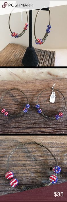 """4th of July earrings 4th of July earrings. 2"""" bronze hoops with 4 red white and blue American flag beads and 1 decorative bronze bead in center. Jewelry Earrings"""