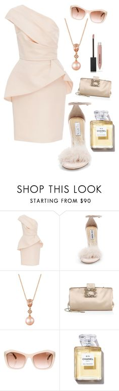 """""""Untitled #4102"""" by kotnourka ❤ liked on Polyvore featuring Monique Lhuillier, Steve Madden, LE VIAN, Roger Vivier, Chanel and Burberry"""