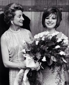 """Barbra Streisand with Fanny Brice's daughter Frances Brice. Barbra portrayed Fanny in """"Funny Girl""""."""