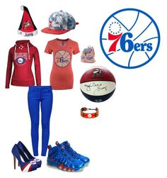 """""""76ers"""" by jenabbyreid on Polyvore featuring Herstar, NIKE, GameWear, adidas, JUST DON, Steiner Sports, Candie's and Boutique Moschino"""