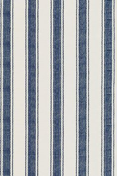 #DashAndAlbert Blue Awning Stripe Woven Cotton Rug.   Rug for playroom or wade's room.