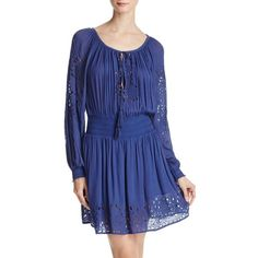 Alice + Olivia Brenda Smocked Eyelet Dress ($380) ❤ liked on Polyvore featuring dresses, midnight blue, smock dress, smocked dresses, blue dress, midnight blue dress and blue eyelet dress