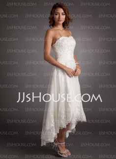 A-Line/Princess Sweetheart Asymmetrical Satin Tulle Wedding Dress With Lace Beadwork (002011546) - JJsHouse