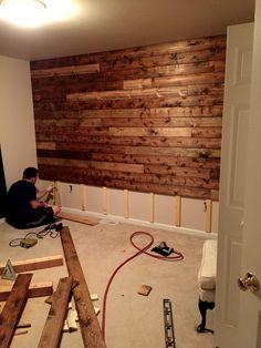 Wooden Accent Wall Tutorial #livingroomdiy & Wooden Accent Wall Tutorial | DIY in 2019 | Wooden accent wall ...