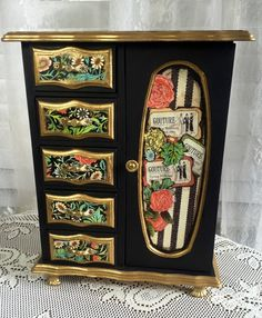 Hand Painted Vintage Wood Jewelry Box Paris by MyRavensWritingDesk