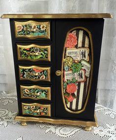 Hand Painted Vintage Wood Jewelry Box Paris by MyRavensWritingDesk