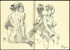 It was a nice distraction drawing from the figure again yesterday. I decided to put all three long poses on one page in my Moleskine. Figure Sketching, Figure Drawing Reference, Human Figure Sketches, Anatomy Reference, Pose Reference, Drawing Sketches, Cool Drawings, Drawing Tips, Character Art