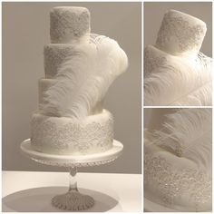Great Gatsby Wedding Cake-you could put lace on the layers we can pull off to cut....