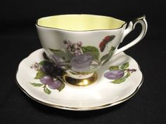 Queen Anne Tea Cup and Saucer Set Vintage England Bone China Fruit & Butterfly