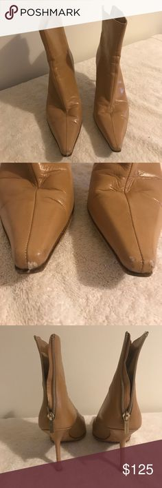 Jimmy Choo tan boots 41 In pretty good worn condition. Ties are scuffed as shown. Zippers work. No box or dust bag. Jimmy Choo Shoes Ankle Boots & Booties