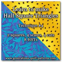 Another of our tutorials for making half square triangles, this time 8 at a time. 2 squares, 4 seams, 4 cuts and Voila! 8 HSTs!