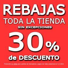 Aprovecha esta oportunidad que no durará mucho tiempo !!! También tendrás un 30% de descuento en los productos ya rebajados !!!!
