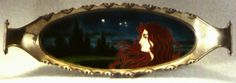 Carl Luber, oval tray, 1900, nighttime landscape with Art Nouveau maiden, glazed earthenware, nickel-plated metal, 25.75 x 8.3 in.