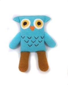 Yellow Label Kids : OWL DOLL - Our rectangle dolls put a modern spin on the classic stuffed animal. Knitted Owl Doll, Knitting For Kids, Baby Knitting, Eco Kids, Yarn Dolls, Owl Pet, Natural Toys, Cute Stuffed Animals, Hand Knitted Sweaters