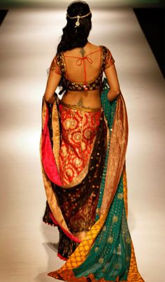 Gorgeous raw silk lengha, in multiple colors.