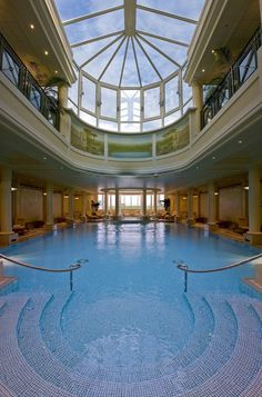 The swimming pool connects the Guerlain Imperial Spa to the Hotel du Palais in Biarritz, France ~ Colette Le Mason @}-,-;--