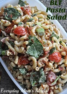 BLT PASTA SALAD recipe from Everyday Mom's Meals. Pasta, bacon, tomato, spinach (or lettuce) in a delicious creamy dressing. Perfect for summertime!