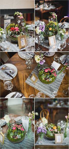 Succulent planter ideas for wedding reception. #weddingchicks Captured By: Chaz Cruz Photography http://www.weddingchicks.com/2014/06/18/rainbow-wedding-with-a-super-cute-program-idea/