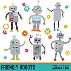 Premium Robots & Gears Clip Art with Vectors - Friendly Robot Clipart, Kids Robots Clipart, Vector Robots, Vector Gears, Gear Clipart, Cogs