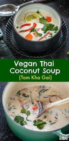The vegan version of the popular Thai Soup! This Vegan Tom Kha Gai is packed with veggies and has tons of flavors - sweet, tart & spicy! So comforting! #vegan #thai #soup via @cookwithmanali