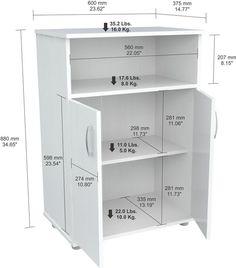 Inval America MM-0207 Laricina-White Finish Microwave Cabinet