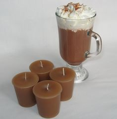 Gel Candles, Beeswax Candles, Scented Candles, Candle Jars, Candle Craft, Chocolate Powder, Unique Candles, Homemade Candles, Tin Gifts