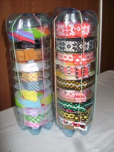 use water/soda bottles to hold rolls of tape or ribbon..or whatever you have...  | MEU MUNDO CRAFT
