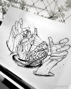 I want to tattoo my hands I cook heart and brain – Tattoo Sketches & Tattoo Drawings Pencil Art Drawings, Art Drawings Sketches, Tattoo Sketches, Cool Drawings, Tattoo Drawings, Ink Illustrations, Sketch Tattoo Design, Sketch Design, Tattoo Designs