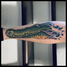 Crocodile ink done by RJ Hitchcock at The American Tradition in Sacramento, California California Tattoos, Florida Tattoos, Neo Traditional Tattoo, American Traditional, Tattoo Flash Art, Tattoo Art, Krokodil Tattoo, Alligator Tattoo, Tattoo Ideas