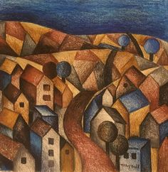 Immerse your imagination in this night time ink pencil painting of an imaginary town. This will need framing. Comes with a Certificate of Authenticity Derwent Inktense, Pencil Painting, Pastel Drawing, Mixed Media Painting, Paintings For Sale, Pencil Drawings, Colored Pencils, Fine Art, Abstract