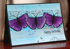 Kylie Purtell, Happy Little Stampers, Butterfly Birthday, Mixed Media, Watercolour, Brushos, Stencils, Vellum