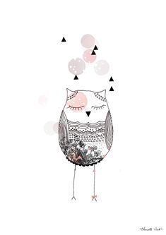 Lovely illustration 'Chouette Pink' by My Lovely Thing