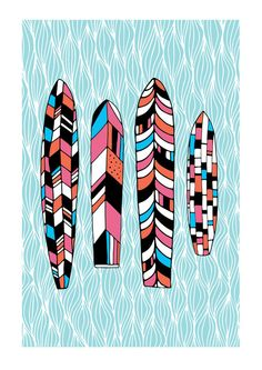 Vintage Surfboards Illustration part 2 Archival by YeahSusanClaire
