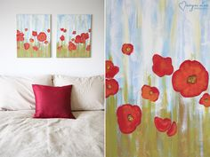 step-by-step guide to painting poppy wall art.