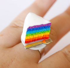 Hey, I found this really awesome Etsy listing at https://www.etsy.com/listing/157508406/rainbow-cake-ring-with-fork-made-of