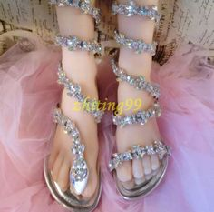 Gladiator Womens Rhinestone Bling Snake Mid Calf Boots Flip Flops Sandals  Shoes | Clothing, Shoes & Accessories, Women's Shoes, Sandals & Flip Flops | eBay!