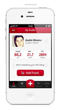 My Diet Diary - iPhone App Design Concept by André Oliveira, via Behance