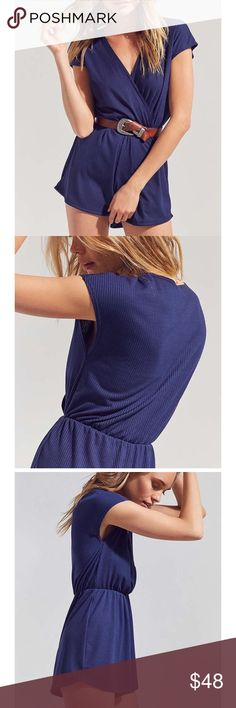 """Urban Outfitters Ecote Ribbed Knit Surplice Romper Ecote XS Romper , Purchased at Urban Outfitters. NWT🏷. Versatile romper by Ecote is a warm-weather staple that looks so good dressed up or down. Super soft stretch ribbed knit in a short-sleeve, surplice front construction with a plunging V-neck. Features a defined elastic waistband + relaxed-fit short bottom. Rayon, Spandex/ Size + Fit - Model in Navy is 5'9"""" and wearing size Small - Measurements For XS: Bust 32/ Waist up to 25 inches…"""