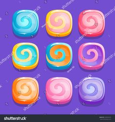 Squares candies, vector illustration for apps, web and game ui Candy Games, Match 3, Game Item, Illustrations, Game Ui, I Icon, Applications, Candies, Squares
