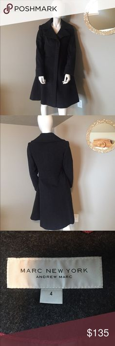 Marc New York Andrew Marc grey wool coat size 4 Dark grey felted wool coat. Fitted at waist. Zipper front. Fully lined. This was worn by a fashion blogger for a photo shoot. Size 4 Andrew Marc Jackets & Coats