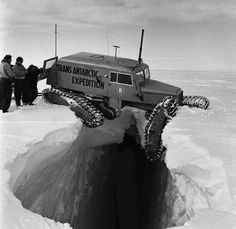 Strange Historic Photos From Antarctica and Other Kingdoms of Ice-A Tucker Sno-Cat balanced precariously over a crevice, during the Trans-Antarctic Expedition, Cool Trucks, Cool Cars, Snow Vehicles, Hors Route, Offroader, Expedition Vehicle, Historical Photos, Old Photos, Monster Trucks