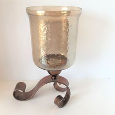 Pier 1 Imports Glass Metal Footed Holder Decor Candle Display #Pier1 #ArtDecoStyle