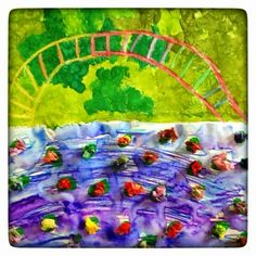 WEST MIDDLETON ART SMARTIES: Gr. 1: Monet's Bridge, tempera leaves, markers painted over with water for pond, oil pastel bridge, tissue lilies