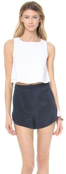 $136, White Cropped Top: Kimem Cropped Top. Sold by shopbop.com. Click for more info: https://lookastic.com/women/shop_items/133705/redirect