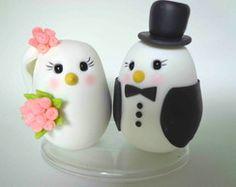 Topo de bolo noivinhos passarinhos