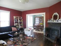 Library red living room